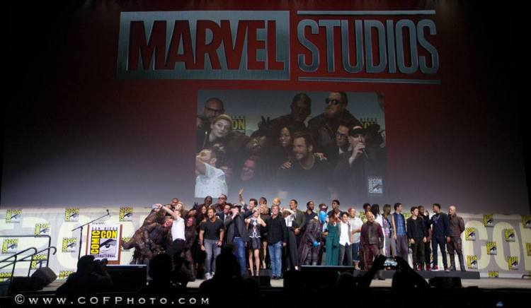 """The """"Marvel Family Photo"""" including Brie Larson. (Photo credit: TMR Report Shawn Richter.)"""