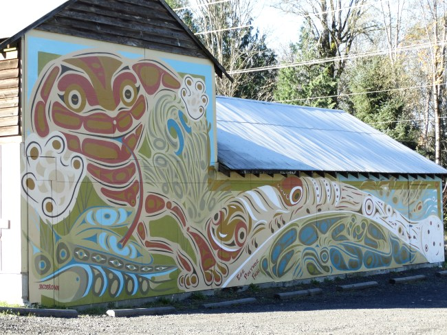 The Barn at the Entrance to the North Kitsap Heritage Park. Craig, Zann and Jonah Jacobrown designers and painters