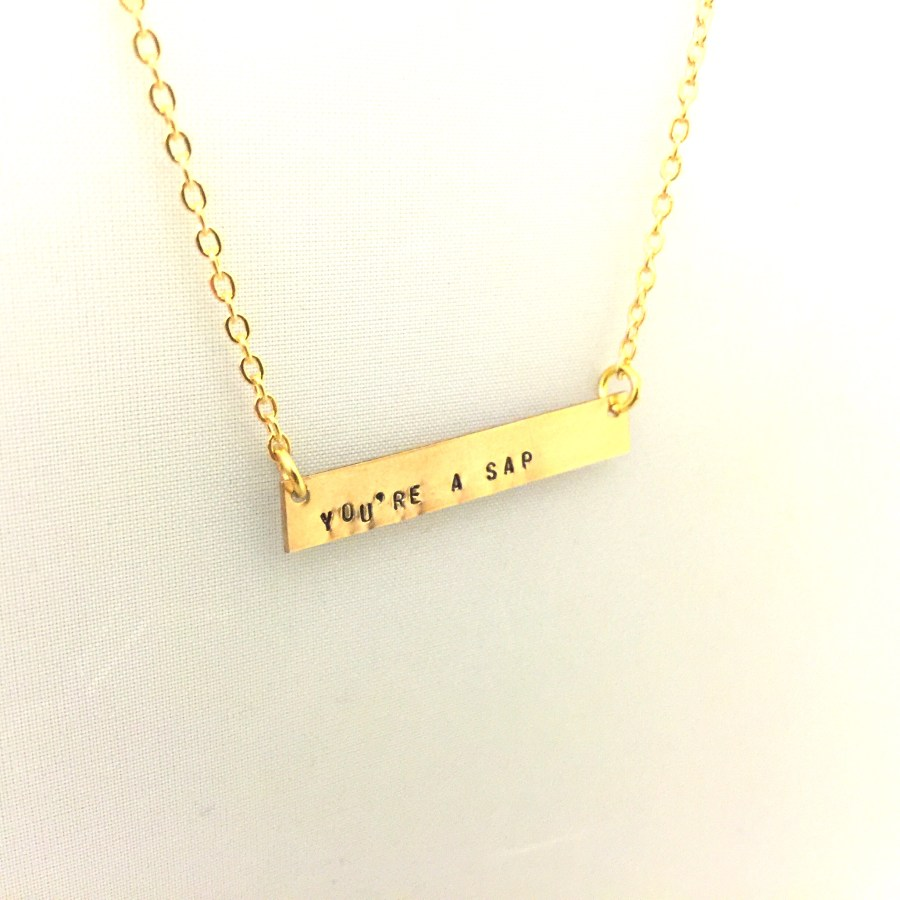 Personalised brass bar neck