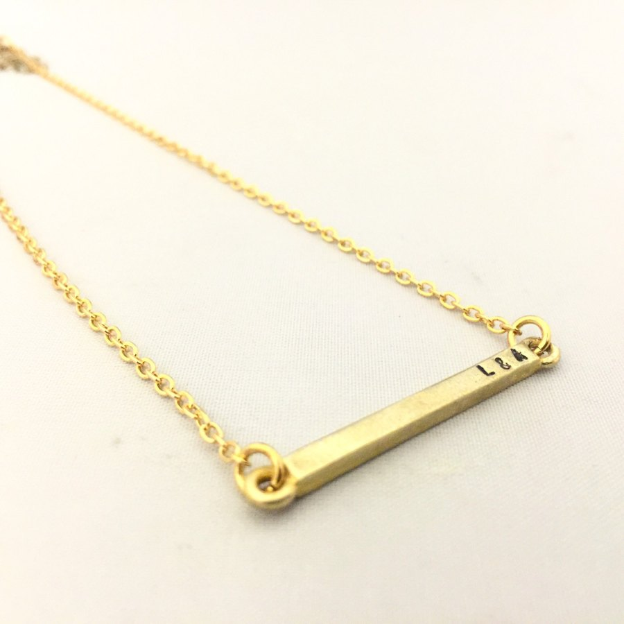Skinny brass, personalised bar necklace