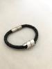 Aluminium, leather wrap bracelet