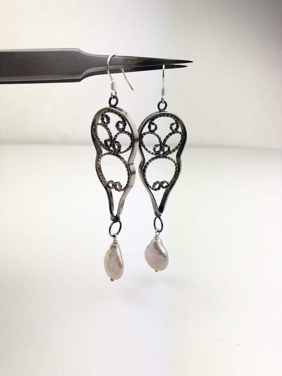 Fresh water Pearl & cutlery earrings