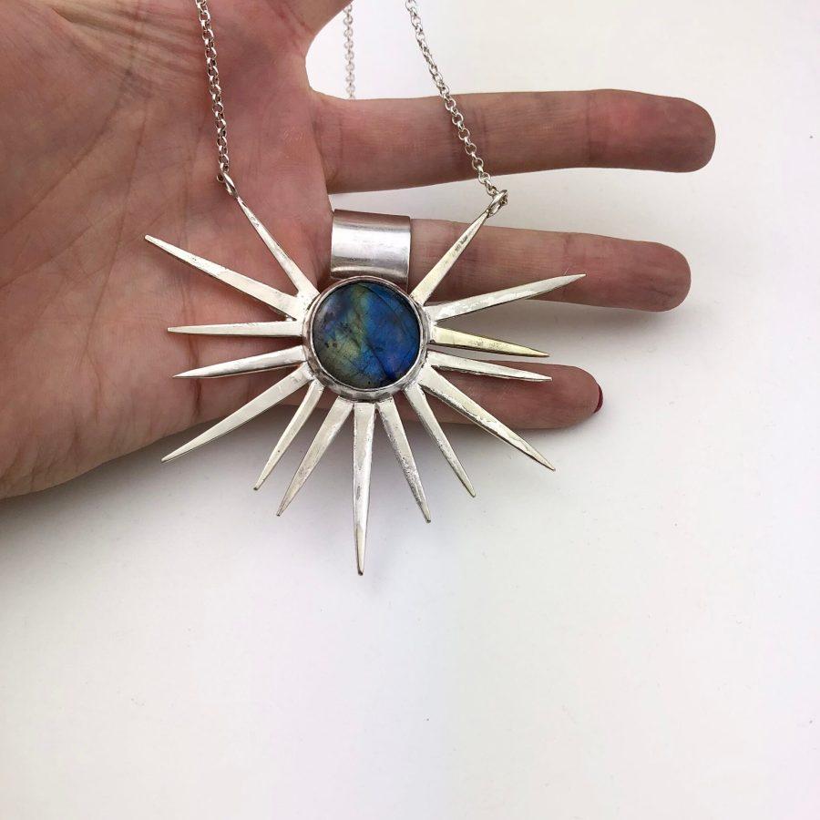 Labradorite & Fork tine necklace