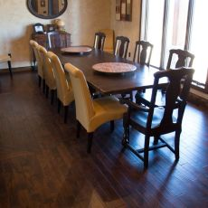 Durango Guinness floor installed in a West Plains home. <br /> <small>Photographer: Katie Knight </small><small>Location: West Plains, MO </small>