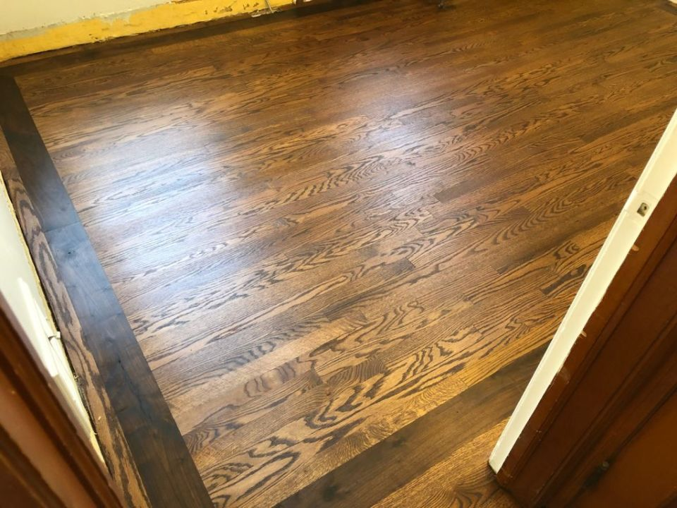 """Aacer red oak with 5"""" walnut border finished with Bona Craft Oil"""