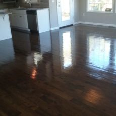 Installation of unfinished red oak. 2 1/4, 3 1/4, and 5 inch planks. 1232 square feet. Stained jacobean. Masterline finish. Duraseal stain. <br /> <small>Photographer: Aaron P </small><small>    Location: Kearney, Missouri </small><small>    Business: Hardwood Floor Essence </small><br />