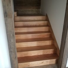 """Installed 5"""" #2 red oak flooring in hunting cabin by olsburg, kansas. Also installed skirt boards, landings, treads and risers. <br /> <small>Photographer: Billy Engler </small><small>Location: Olsburg, Kansas </small><small>Business: Fancy Flooring Hardwood Floors </small><br />"""