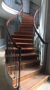 Brazilian cherry sand and finish staircase