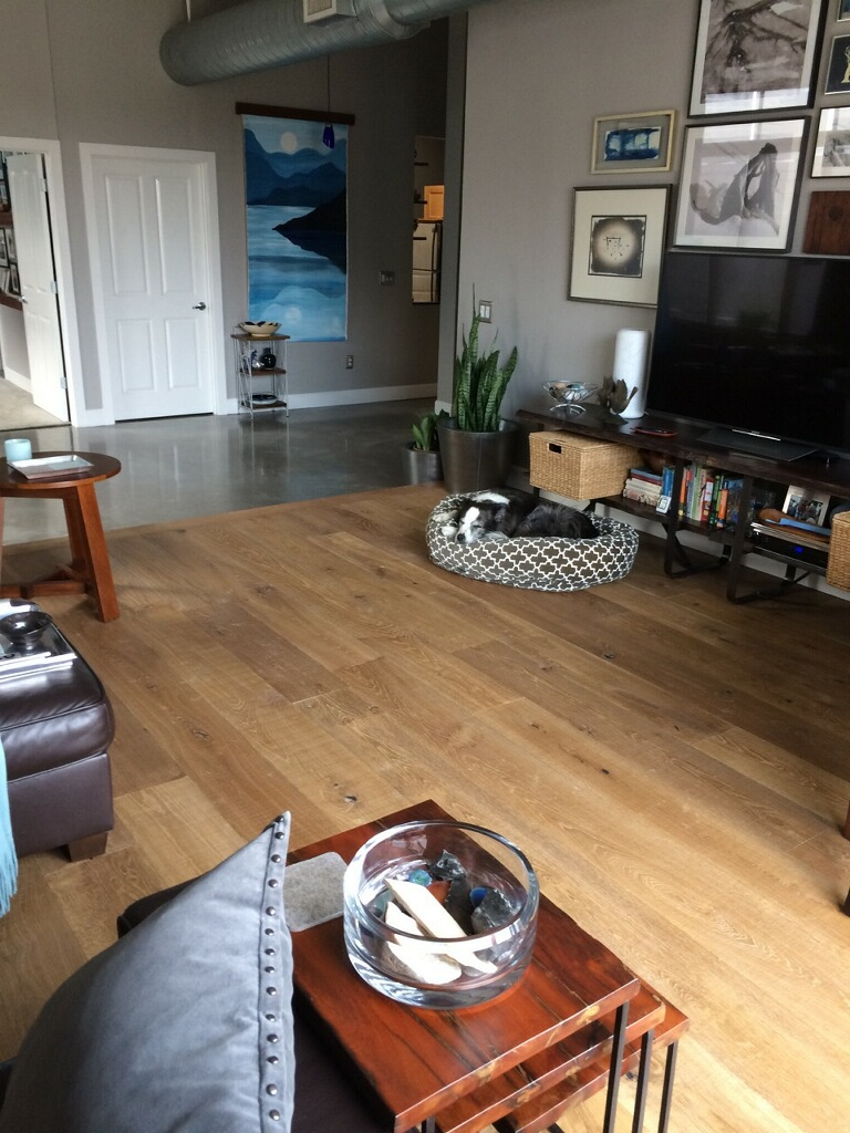 Wide plank prefinished hardwood floor from Real Wood Floors installed in living room