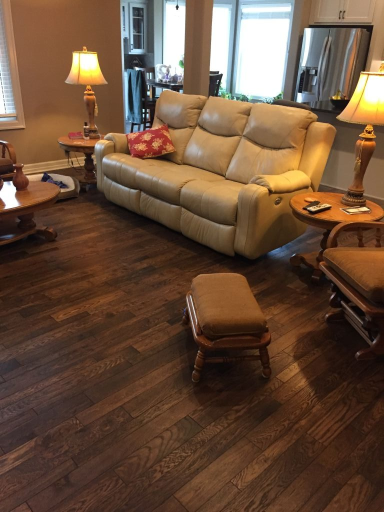 Lake Tahoe White Oak Prefinished floor from Master's Craft installed in a living room.
