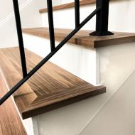 "Side view of FloorNose treads with Brick & Board ""Foyer"" flooring in Austin home."