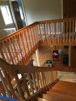As you can see in the photo, the spacing was too wide between the original balusters, so we put additional balusters between each of the original ones.