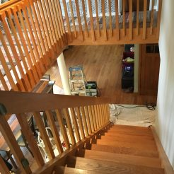 Stair balusters matched and stained