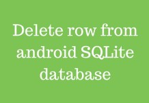 Delete row from android SQLite database