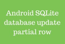 Android SQLite database update partial row