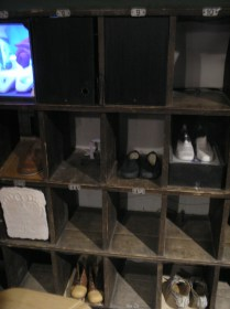 A view of the shoe cubby holes