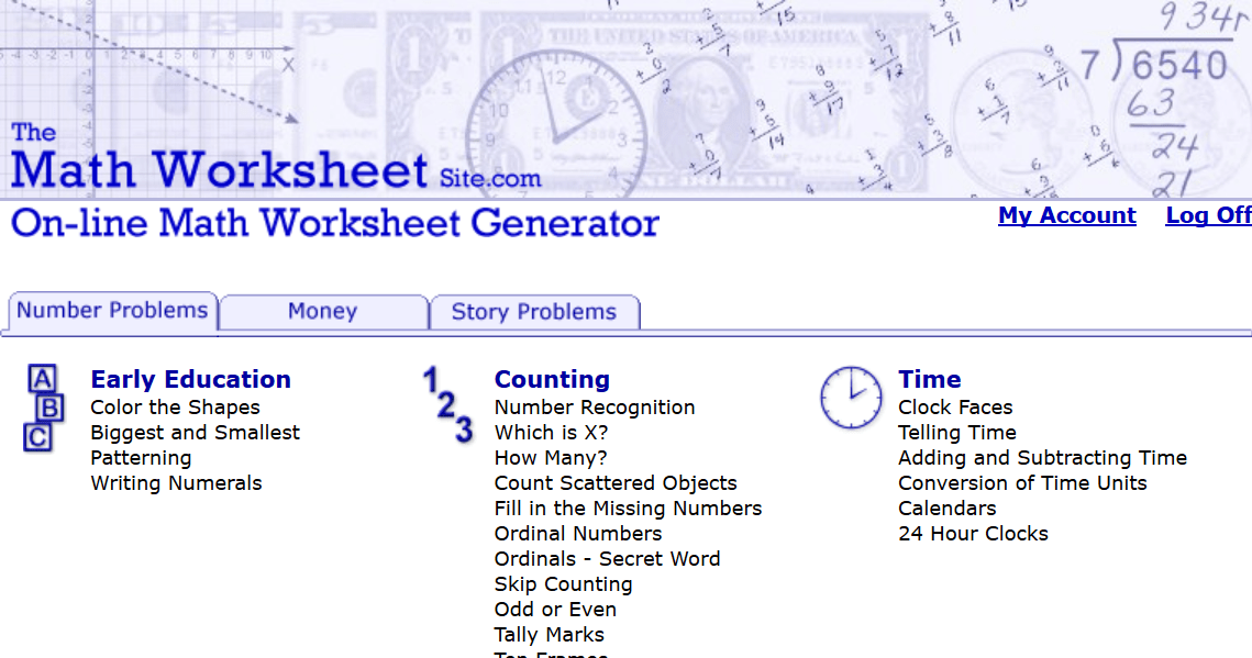 The Math Worksheet Sitecom