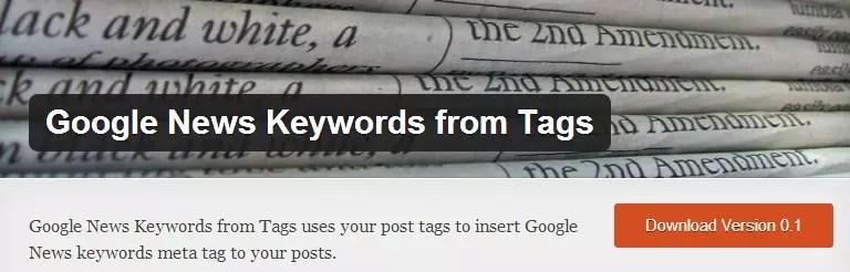 Google News Keywords from Tags - Free WordPress Plugin