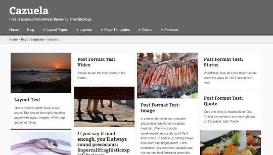 Masonry, Pinterest-like, page template