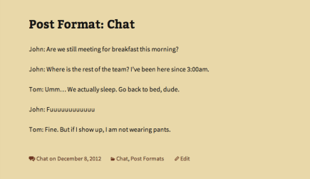 Chat post format in Twenty Thirteen