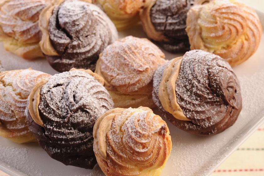 Chocolate Profiterols with Espresso Cream Filling