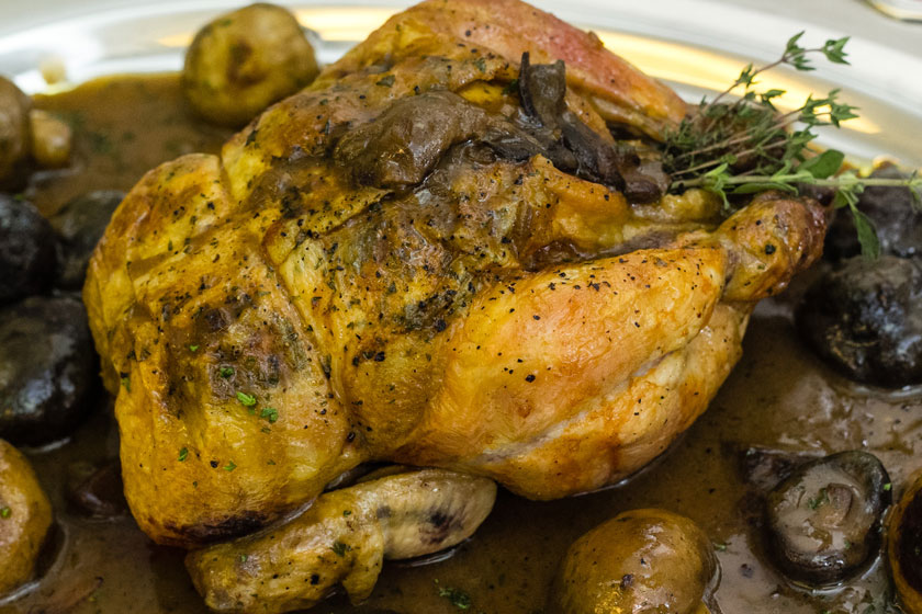 Roast Chicken with Three Mushrooms