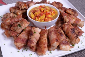 Bacon-Wrapped Fish Fillet with Mango Salsa