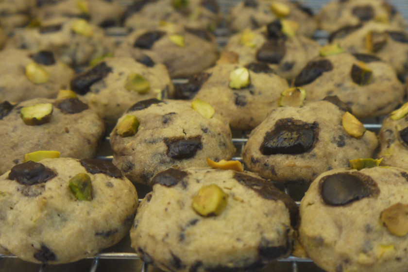 Dark Chocolate Pistachio Sea Salt Cookies