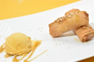 Peanut Butter Turon with Salted Caramel and Ice Cream
