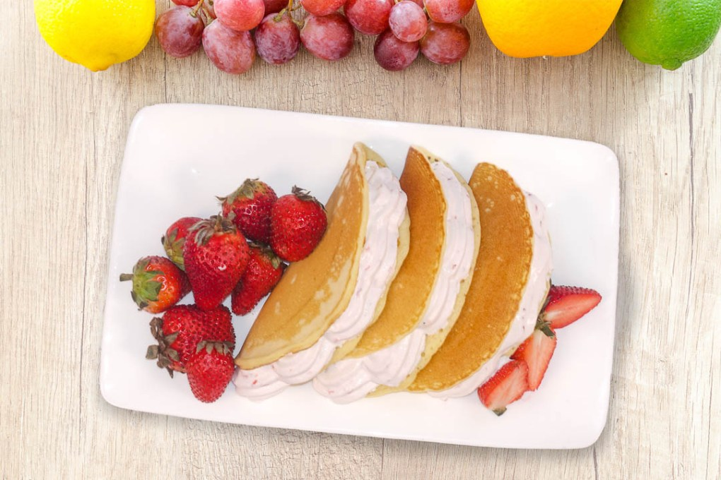 Folded Hotcakes with Strawberry Cream Filling