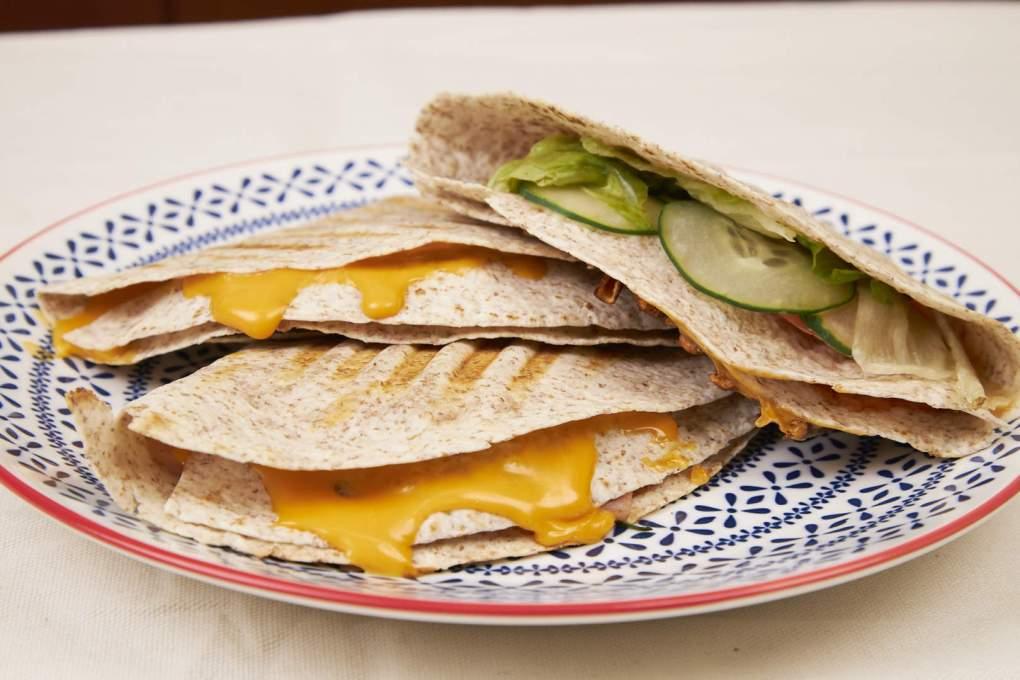 Ham And Cheese Folded Tortilla Sandwich