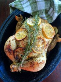 Juicy, tender, and delicious are the three keywords are that come to mind when I think of this Roasted Lemon and Rosemary Chicken; often I have thought of doing two chickens since it reheats so well and makes a wonderful chicken salad. Yes, it's that darn good Y'all.