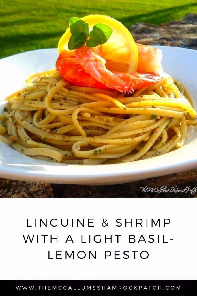 Linguine & Shrimp with a light Basil-Lemon Pesto is a very light and lemony variation of traditional pesto and pasta. You are going to this version with organic fresh herbs from the garden with a fresh lemony taste of our Florida lemons right off the tree, Pecorino Romano cheese, and toasted pine nuts over a nest of delicious al dente pasta, with fresh, decadent Key West Pink shrimp.