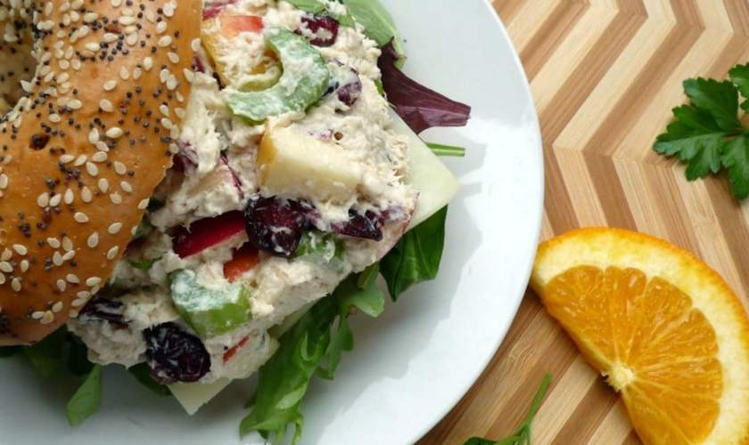 Chicken Salad with cranberries apples celery and basil