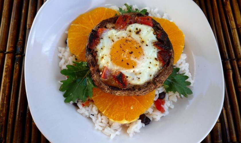 Portobello Mushrooms with Eggs and Chorizo over Rice