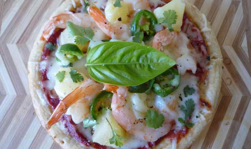 Shrimp and Pineapple Pizza with Jalapeno Peppers