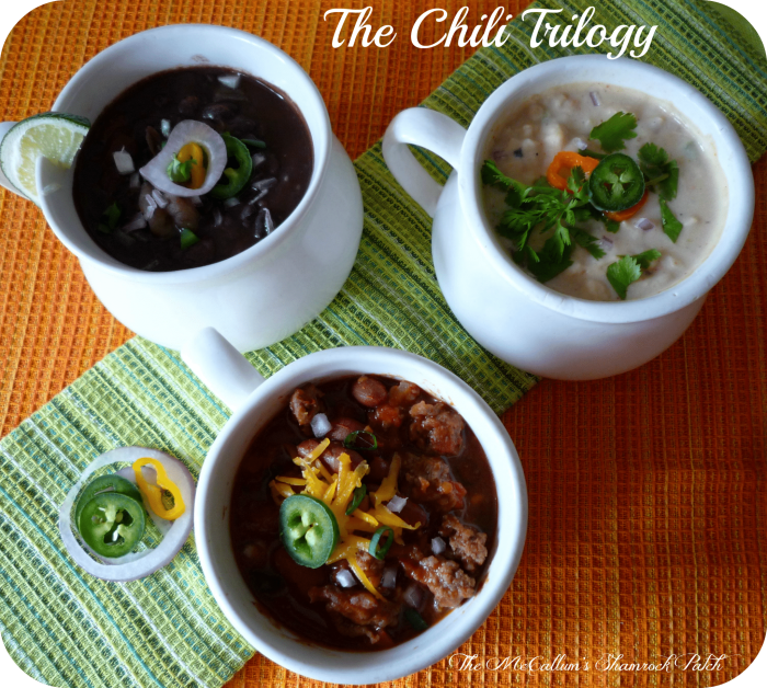 The Chili Trilogy #chili #blackbeans #northernbeans #redbeans
