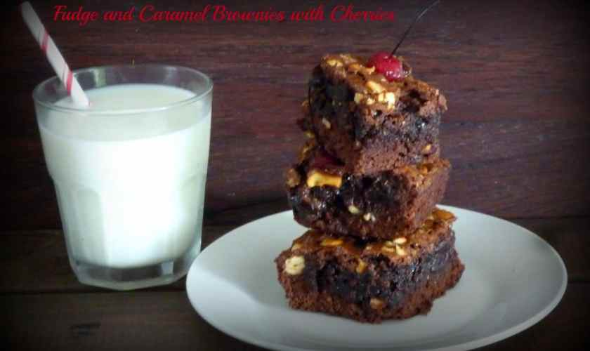 Fudge Caramel Brownies with Maraschino Cherries