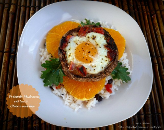 portobello-mushrooms-with-baked-eggs-and-chorizo-over-rice-by-the-mccallums-shamrock-patch pin