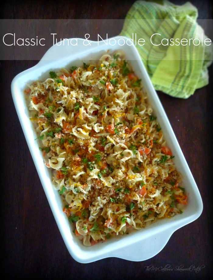 combines wide egg noodles, solid white albacore tuna, sliced carrots, optional peas, shallots, Vermont white cheddar, Colby-Jack cheese, topped with panko breadcrumbs, and fresh parsley for an easy to make Classic yet updated Casserole that aims to please any Casserole Queen.