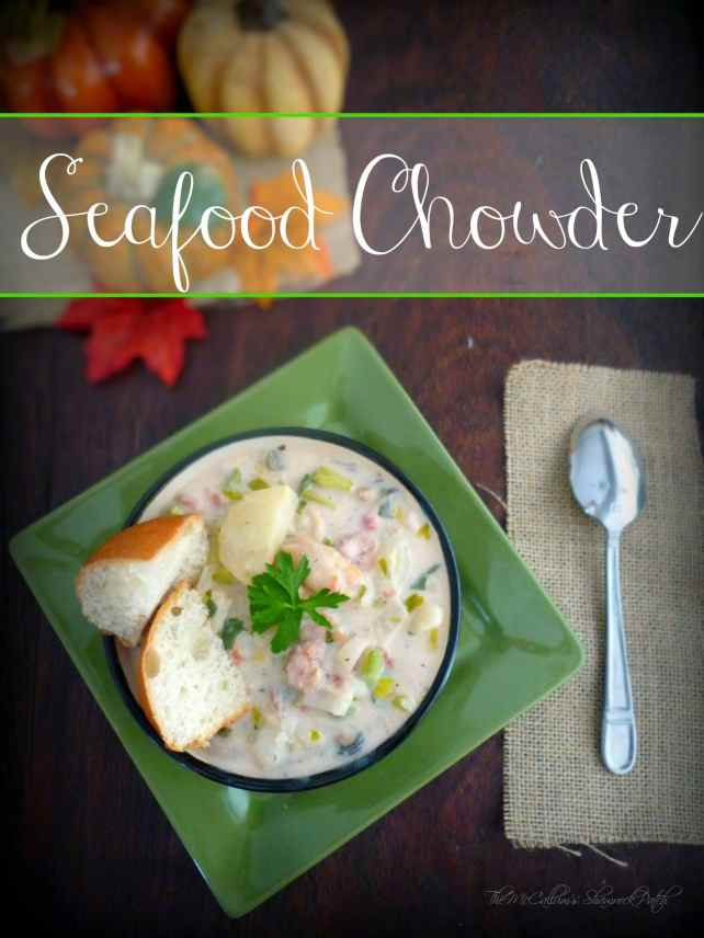 Grab your favoritebowl and help yourself to a few ladles of thick, rich, creamy Seafood Chowder to warm your heart and belly with an almost decadent combination of red potatoes, celery, shrimp, lobster, fish, scallops, crab, clams, and oysters. I can promise you if you enjoy seafood this remarkably simple easy to follow a recipe for Seafood Chowder is going to make your day.