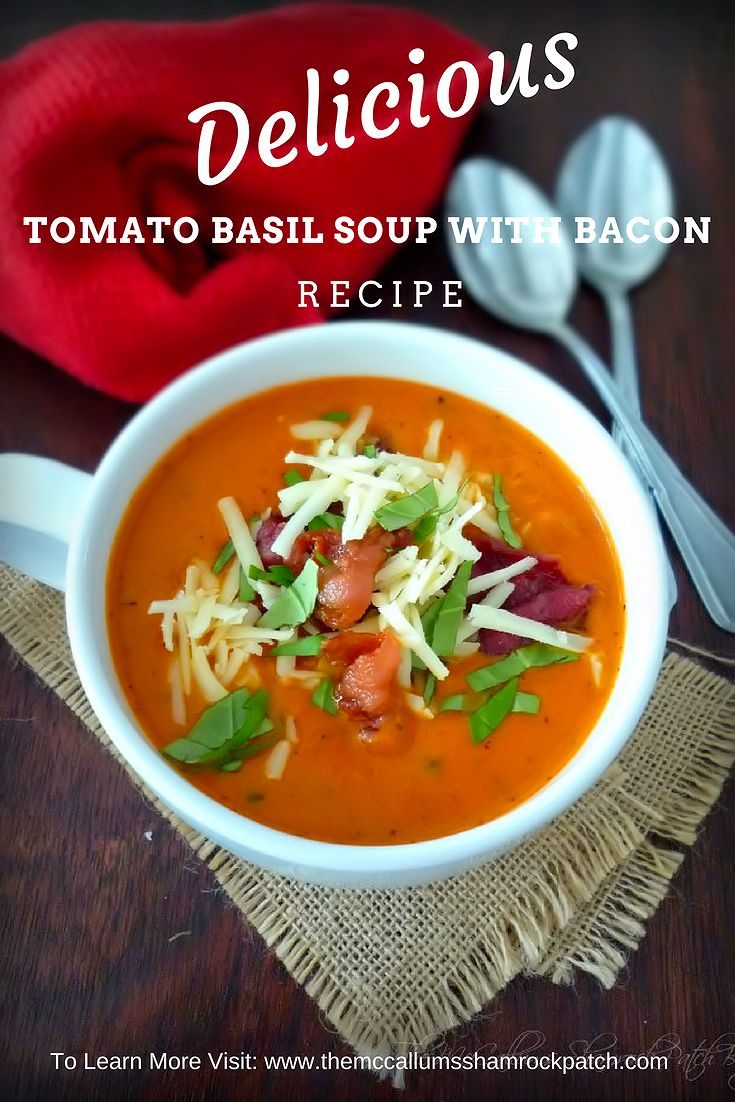 My delicious recipe for Tomato Basil Soup with Asiago & Bacon will take the average Tomato soup to an entirely new level of delicious warmth in your belly in these cold winter months combining San Marzano tomatoes, with crisp quality bacon, a rich delicate soft Asiago cheese, and fresh basil.