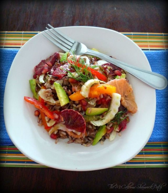 Healthy Wild Rice & Citrus Salad is a wonderful winter salad to enjoy with a light meal for lunch or dinner combining healthy yet delicious, nutty flavor of  a wild rice blend with perfectly ripe Florida Blood oranges, sweet pink grapefruit, fennel, sweet red bell peppers, yellow bell peppers, fresh ripe avocados, pomegranate seeds with a fabulous balsamic and oil dressing.