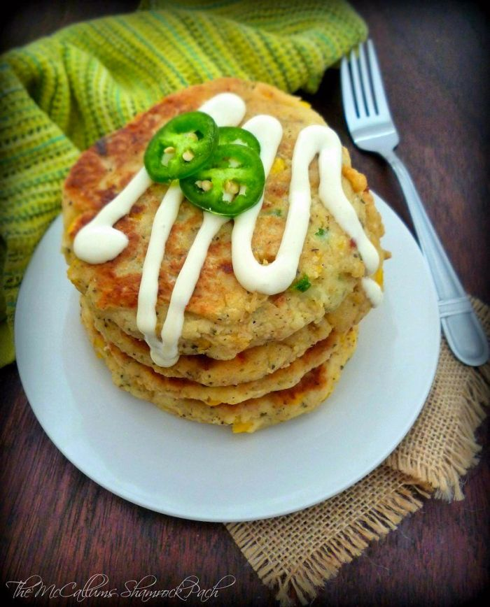 Southern Potato and Corn Fritters with Jalapenos are one of my many childhood favorites that my mom used to make; warm and yummy made with homemade leftover mashed potatoes, sharp cheddar cheese, Vidalia onions, organic corn, and jalapeno peppers, deliciously pan-fried in a cast-iron skillet to perfection in cottonseed oil.