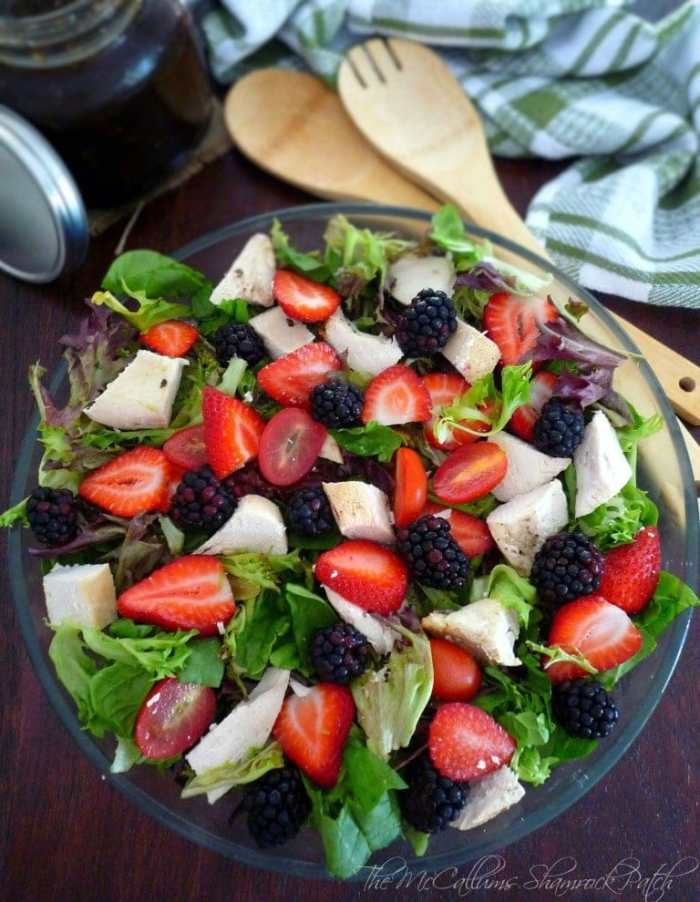 Chicken and Berry Salad is such stunning and fabulous way of making the most of your leftover chicken breast meat combined with fresh juicy, succulent blackberries and strawberries and a fresh spring mix with a wonderful refreshing Blackberry Mint Balsamic Dressing to tie it all together.