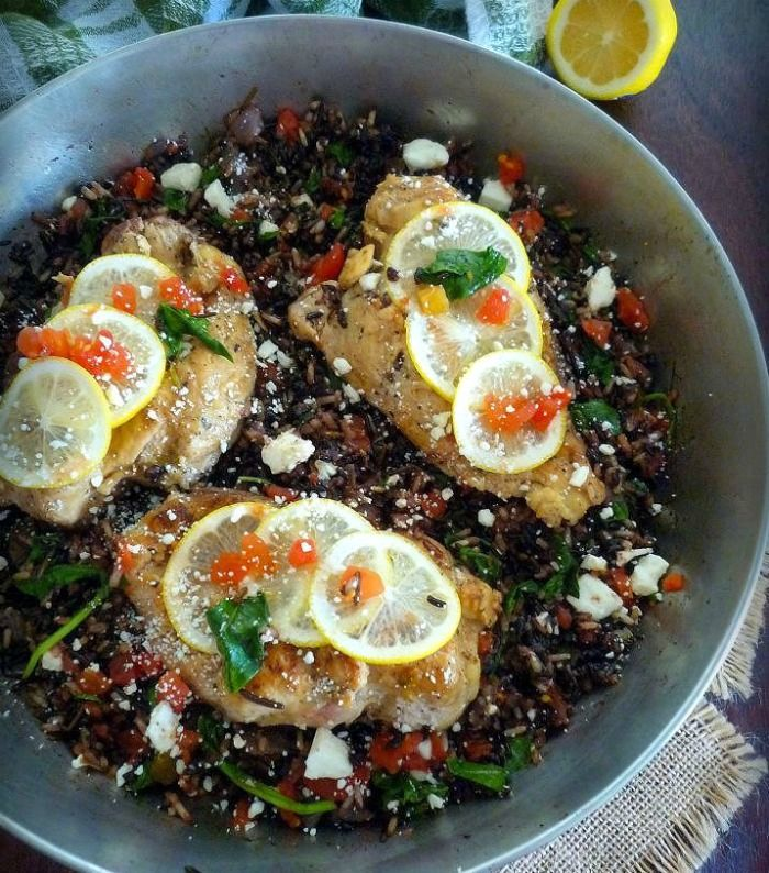 Mediterranean Chicken and Wild Rice Blend is that healthy yet delicious recipe you have been looking for with a great Mediterranean vibe and fantastic smoky, nutty flavor. Combining a quality wild rice blend with boneless skinless white chicken breasts, organic fresh spinach, plum tomatoes, and feta crumbles with a hint of fresh lemon and Mediterranean herbs all cooked in one skillet.