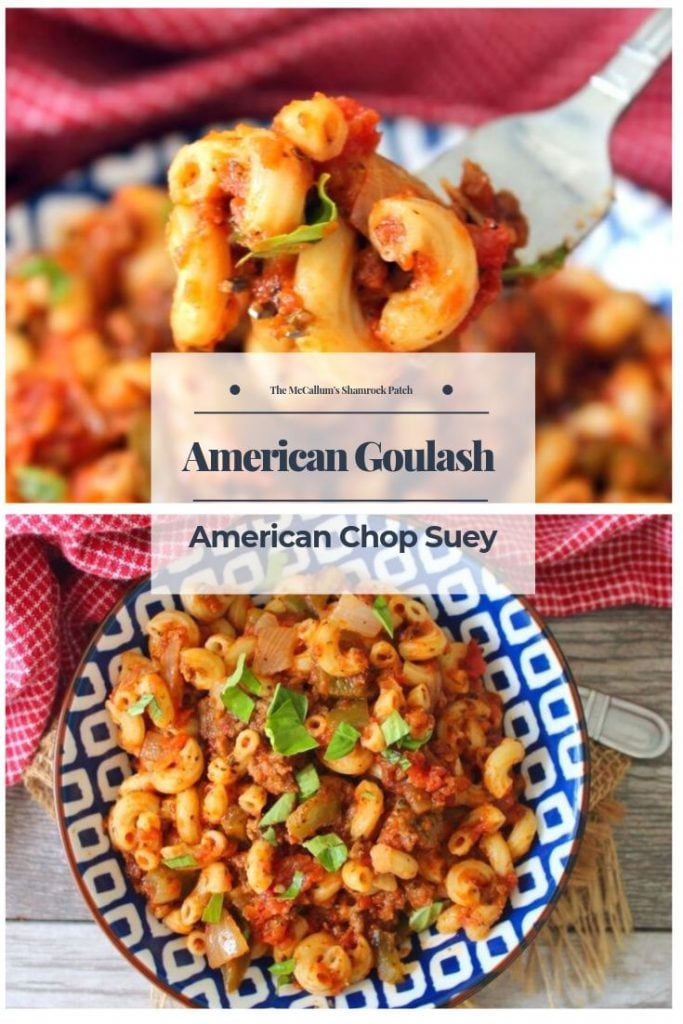 This delicious comforting dish named American Goulash, aka American Chop Suey, aka Beef and Macaroni, has simple, economical, filling ingredients such as lean ground beef, green bell peppers, tomatoes, onions, garlic, and seasoned with herbs that are reasonably family-friendly and super simple to find at any market or local grocer.