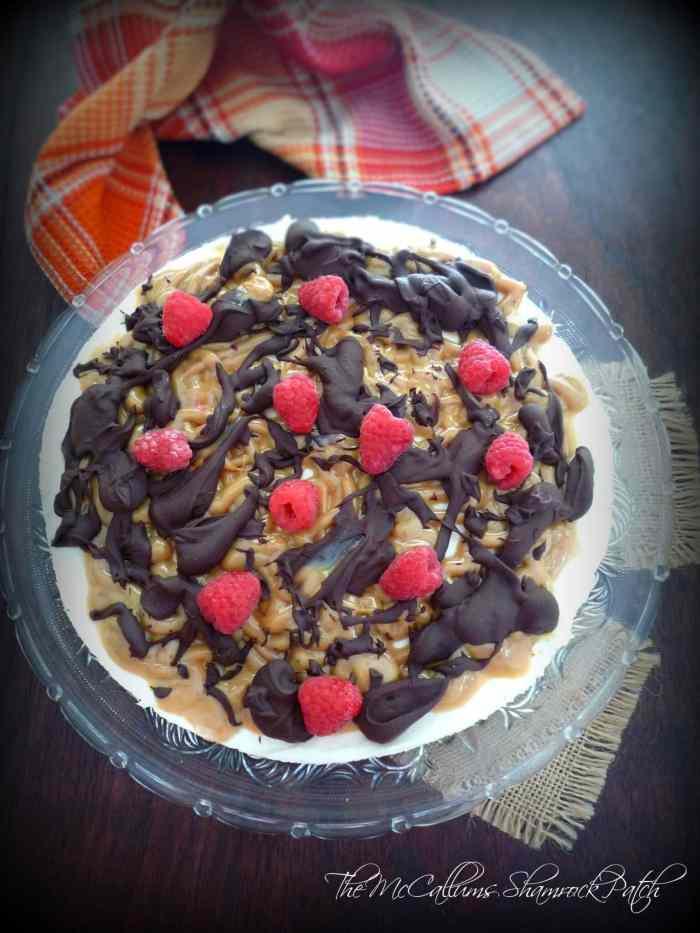 Caramel Chocolate Cheesecake Brownie with Raspberries
