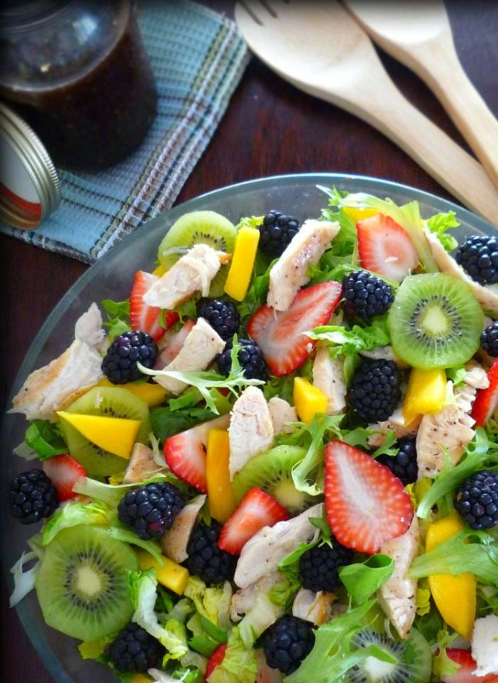 Grilled Chicken Salad with Healthy Fruit is not only light on calories; it's simply a stunning looking show stopper light meal to serve for any luncheon or light dinner this late spring. Combining grilled chicken breast, organic salad greens, fresh blackberries, delicious red strawberries, kiwi, and freshly picked Florida mangoes to make a perfectly healthy salad you'll enjoy time and time again.