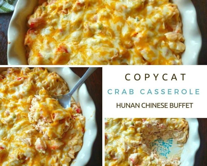 Copycat Crab Casserole from Hunan Chinese Buffet is a combination of crabmeat, cabbage, celery, sweet red bell peppers, mild cheddar cheese, cream cheese, sour cream, mayo, soy sauce, freshly squeezedlemon juice, and a touch of seasoning. TheCopycat Crab Casserole from Hunan Chinese Buffet is then baked to a bubbly perfection in a 350-degree oven for about 30 minutes.